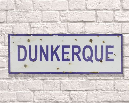 Dunkerque Rusty Metal Sign 20cm x 56cm